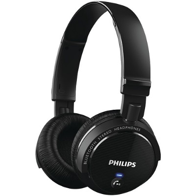 Philips SHB5500BK/27 On-Ear Bluetooth Stereo Headphones with Microphone