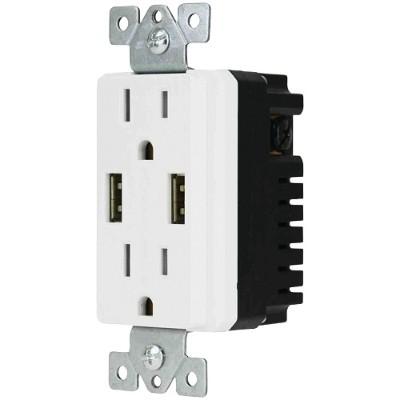 DataComm Electronics 48-0204-WH Décor Duplex 4-Amp USB Charger & Outlet
