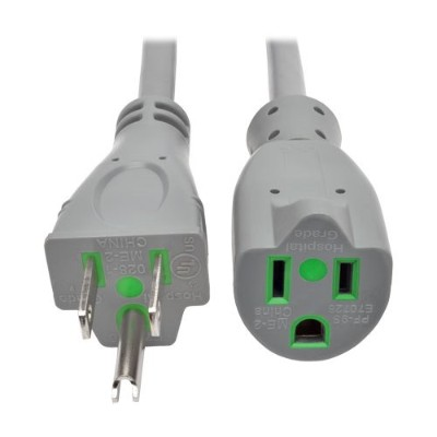 TrippLite P022-002-GY-HG 2ft Hospital Medical Power Extension Cord 5-15P 5-15R 13A Gray