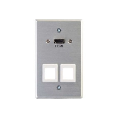 Cables To Go 60160 HDMI Pass through Single Gang Wall Plate with Two Keystones - Aluminum
