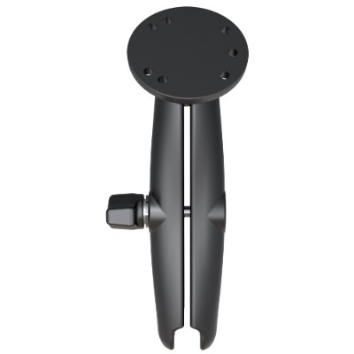 RAM Mounts RAM-B-103U-C RAM 1 Ball Long Length Double Socket Arm with 2.5 Round Base that contains the AMPs Hole Pattern