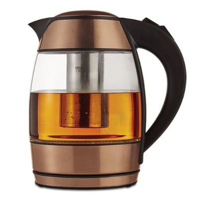 Brentwood Appliances KT-1960RG 1.8 Liter Electric Glass Kettle with Tea Infuser