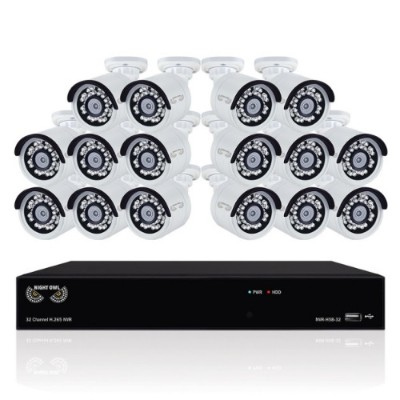 Night Owl Security Products B-4MH5-32163 32 Channel H.265 Network Video Recorder with 3TB HDD and 16 x 2K (4MP) Wired IP Cameras
