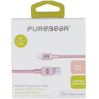PureGear 12122VRP 9 Charge & Sync Lightning to USB Metallic Braided Rope Cable