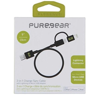 PureGear 12230VRP 2-in-1 Charge & Sync Cable with Lightning to Micro USB Adapter