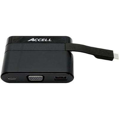 Accell U205B-001B USB-C Mini Dock - VGA  USB-A 3.0  and USB-C Charging Port.