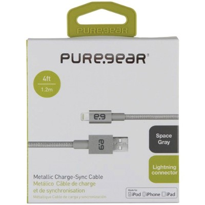 PureGear 99389VRP Charge & Sync Lightning to USB Metallic Braided Rope Cable - Gray