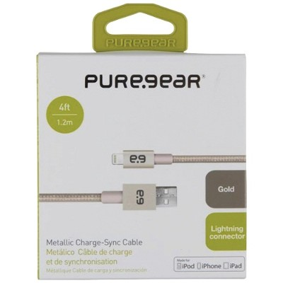 PureGear 99391VRP 4ft Charge & Sync Lightning to USB Metallic Braided Rope Cable - Gold