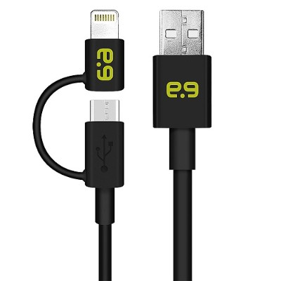 PureGear 99966VRP 4ft Charge & Sync 2-in-1 Micro USB Cable with Lightning Adapter