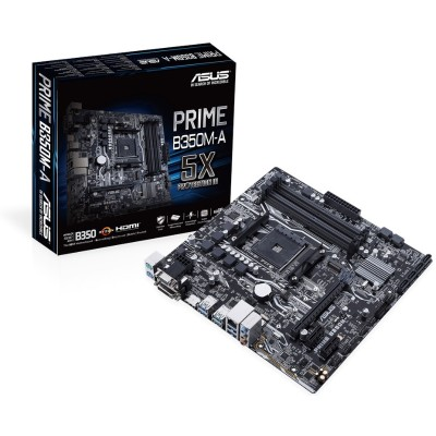 ASUS PRIME B350M-A/CSM PRIME B350M-A/CSM - MotherBoard - m-ATx - AM4 Socket - USB 3.0 - Gigabit LAN - Onboard graphics (CPU required) - HD Audio (8-channel)