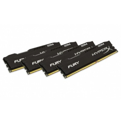Kingston HX426C16FB2K4/32 32GB 2666MHz DDR4 CL16 DIMM (Kit of 4) 1Rx8 HyperX FURY Black