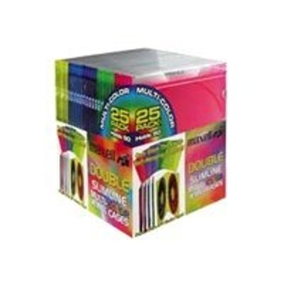 Maxell 190131 Double Slimline Jewel Cases Multi-Color CD-392 - Storage CD slim jewel case - capacity: 2 CD (pack of 25 )
