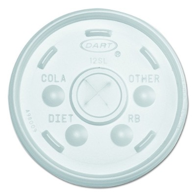 Dart Container 12SL Plastic Lids for 12-oz Hot/Cold Foam Cups  Slip-Thru Lid  White - 1000/Carton 40636224