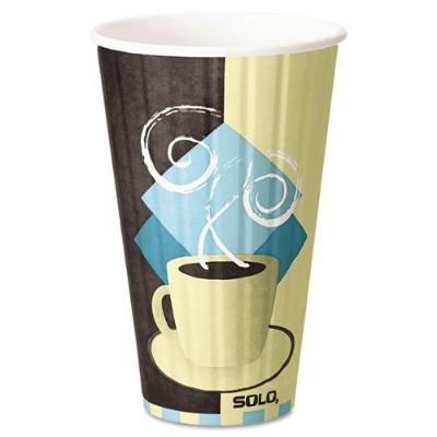 SOLO Duo Shield IC16-J7534 Hot Cup, 16 oz. Chocolate, Light Blue, Tan, 525/Carton 150312