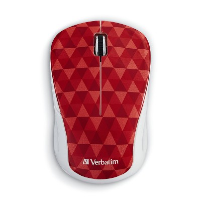Verbatim 99744 Wireless Notebook Multi-Trac Blue LED Mouse – Diamond Pattern Red