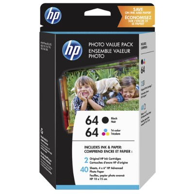HP Inc. Z2H77AN#140 64 Photo Value Pack - 2-pack - black  tricolor - original - print cartridge / paper kit - for Envy Photo 62XX  Photo 71XX  Photo 7