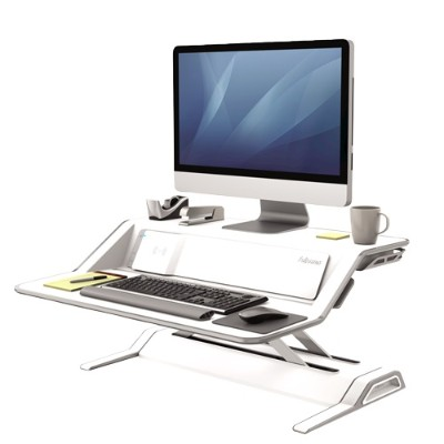 Fellowes 8080201 Lotus DX Sit-Stand Workstation - Stand (charge only) for LCD display / keyboard / mouse - white
