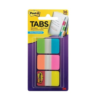 3M 686-ALOPRYT Post-it Tabs  1 in. Solid  Aqua  Yellow  Pink  Red  Green  Orange  Durable  Writable  Repositionable  Sticks Securely  Removes Cleanly