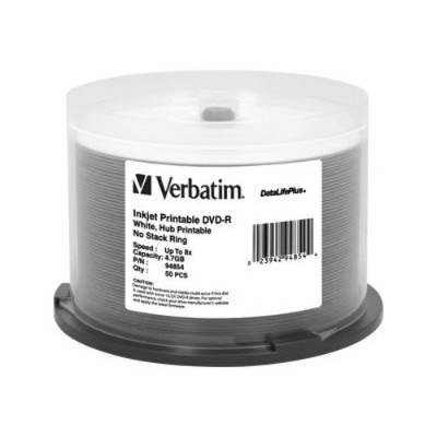Verbatim 94854 DataLifePlus 4.7GB 8X DVD-R White Inkjet Printable Hub Printable 50pk Spindle