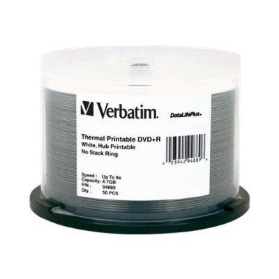 Verbatim 94889 DataLifePlus - 50 x DVD+R - 4.7 GB 8x - white - thermal transfer printable surface - spindle