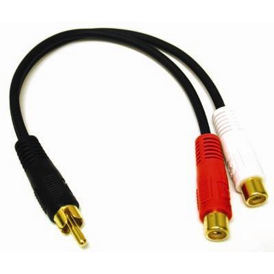 Cables To Go 03177 Value Series 6in Value Series One Rca Mono Male To Two Rca Stereo Female Y-cable - Audio Cable - Rca (m) To Rca (f) - 7.5 In - Black