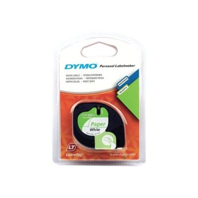 Dymo 10697 LetraTAG - Tape - paper - black on white - Roll (0.47 in x 13.1 ft) 2 roll(s) - for LetraTag 2000  Plus  QX50  XR