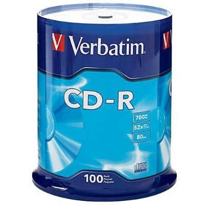 Verbatim 94554 CD-R 700MB 52X with Branded Surface - 100pk Spindle