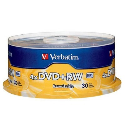 Verbatim 94834 DVD+RW 4.7GB 4X with Branded Surface - 30pk Spindle