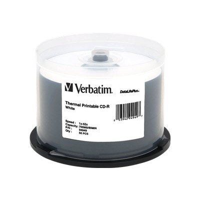 Verbatim 94949 700MB 52x White Thermal Printable CD-R (50-pack Spindle)