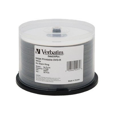 Verbatim 94971 DVD-R 4.7GB 8X DataLifePlus White Inkjet Printable Spindle - 50 pack