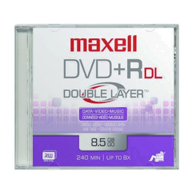 Maxell DVD Recordable Media - DVD+R DL - 2.4x - 8.50GB - 1 Pack Jewel Case - 120mm