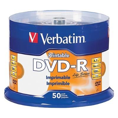 Verbatim 95078 DVD-R 4.7GB 16X White Inkjet Printable