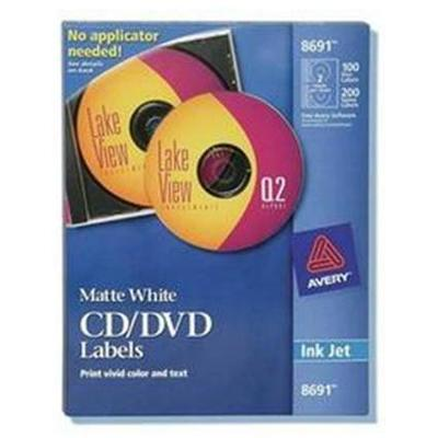 Avery Dennison 8691 White CD/DVD Labels for Inkjet Printers - 50 Sheets