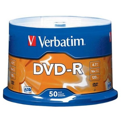 Verbatim 95101 AZO DVD-R 4.7GB 16X with Branded Surface - 50pk Spindle