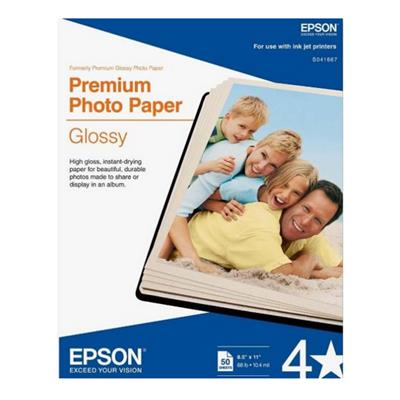 Epson S041667 8.5 x 11 Premium Photo Paper Glossy - 50 Sheets