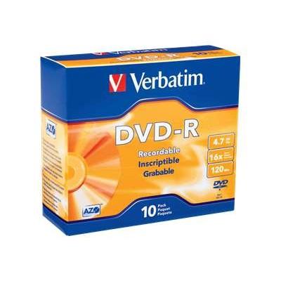 Verbatim 95099 4.7GB 16x Branded DVD-R Media with Slim Case - Pack of 10
