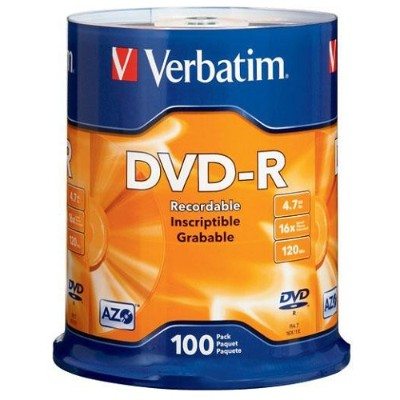 Verbatim 95102 AZO DVD-R 4.7GB 16X with Branded Surface - 100pk Spindle