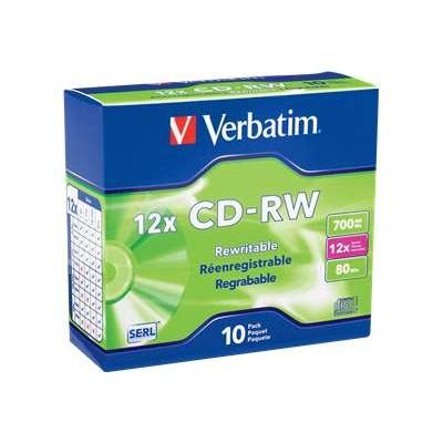 Verbatim 95156 700MB High-Speed Branded CD-RW Media with Slim Case - Pack of 10
