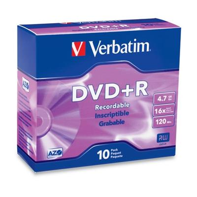 Verbatim 95097 10Pack DVD+R 4.7GB 16X-Branded with Slim Jewel case