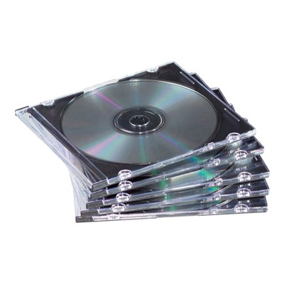 Fellowes 98316 25 Pack CD Jewel Cases Clear/Black