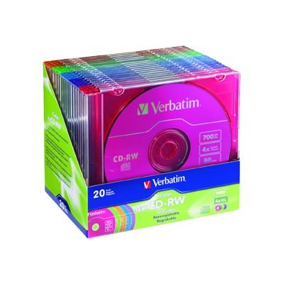 Verbatim 94300 4x DataLifePlus 700MB/80 Min. CD-RW Media  Color  20 Pack w/Slim Jewel Cases
