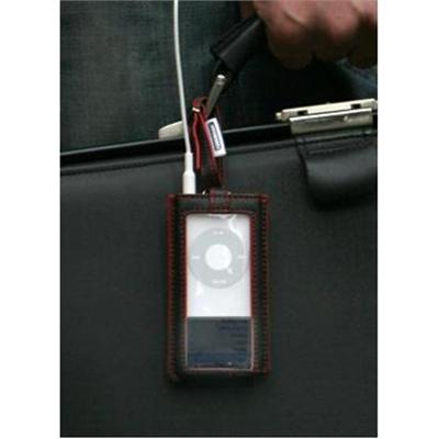 A luggage-tag style leather case with a transparent vinyl sheet. Includes TUNEFILM.