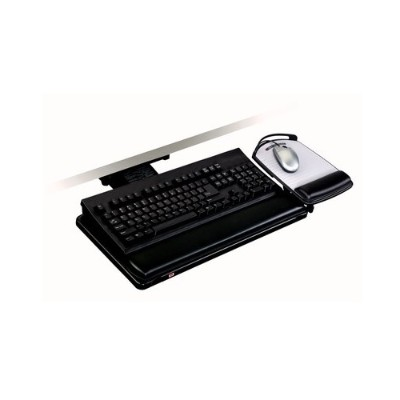 3M AKT80LE Adjustable Keyboard Tray  Knob Adjust Arm  11.7 in x 24.4 in x 7.2 in 17.75in Track  Adjustable Platform