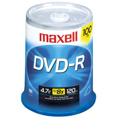 Maxell 638014 16x 4.7 GB/120 Minute DVD-R Media  100-Pack Spindle