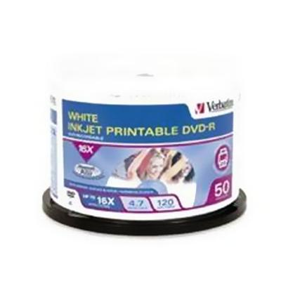 Verbatim 95137 16x 4.7GB DataLifePlus White Inkjet Printable DVD-R Media 50-Pack Spindle