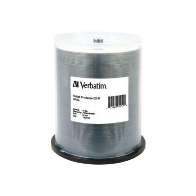 Verbatim 95251  CD-R 80MIN 700MB 52x White Inkjet Printable - 100pack  Spindle