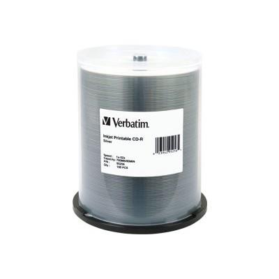 Verbatim 95256 100Pack CDR 700MB 80Min. 52X-Silver Inkjet Printable