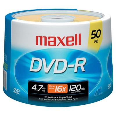 Maxell 638011 4.7GB 16x DVD-R Media - 50-Pack Spindle