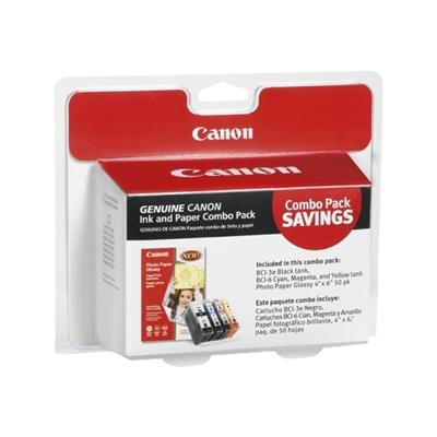 Canon 4479A292 Ink and Paper Combo Pack - 3.95 in x 5.9 in ink tank / paper kit - for BJ-S520 i990 9950 PIXMA IP3000 IP4000 iP5000 iP6000 iP8500 MP750