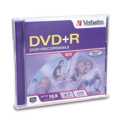 Verbatim 94916 DVD+R 4.7GB 16x Branded 1-Pack Jewel Case